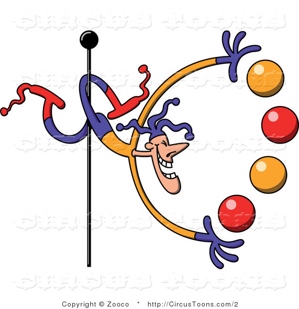 600x620 Circus Clipart Of A Juggler With One Leg Around A Pole By Zooco