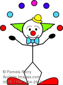221x300 Art Image Of A Stick Figure Clown Juggling