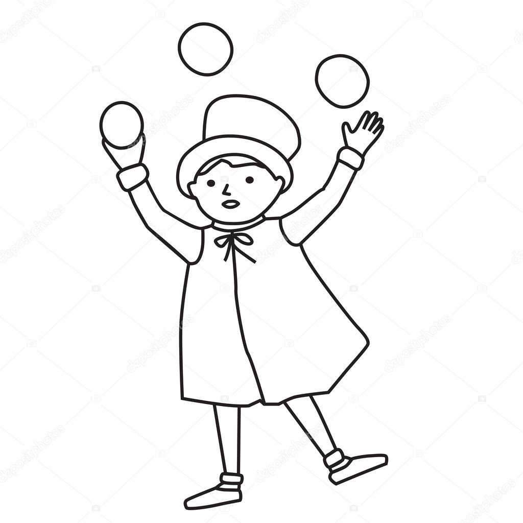 1024x1024 Cartooned Graphic Of Juggler Boy Stock Vector Veralub