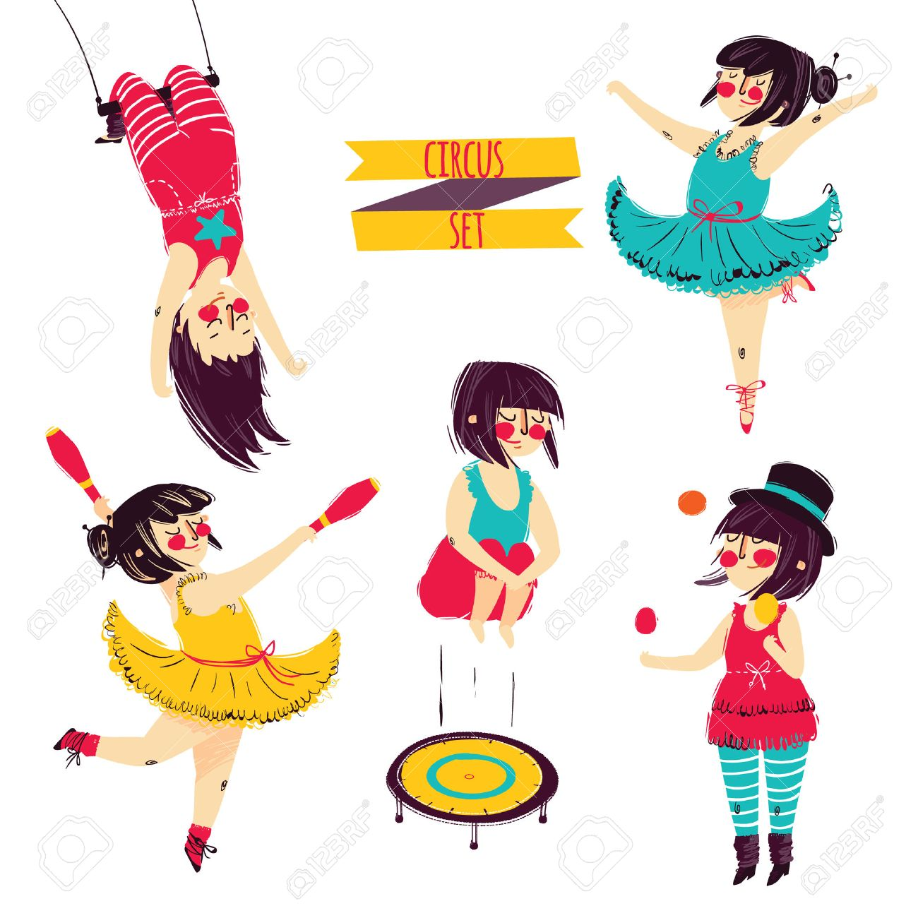 1300x1300 Cute Circus Set. Girl Acrobat Juggler Vector Royalty Free Cliparts