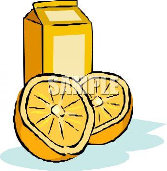 342x350 Royalty Free Clip Art Image Carton Of Orange Juice With A Halved