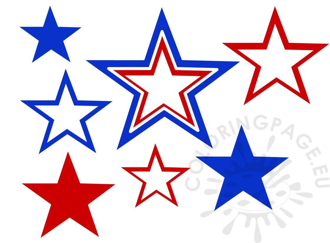 1122x826 July 4th Stars Clip Art Set Coloring Page