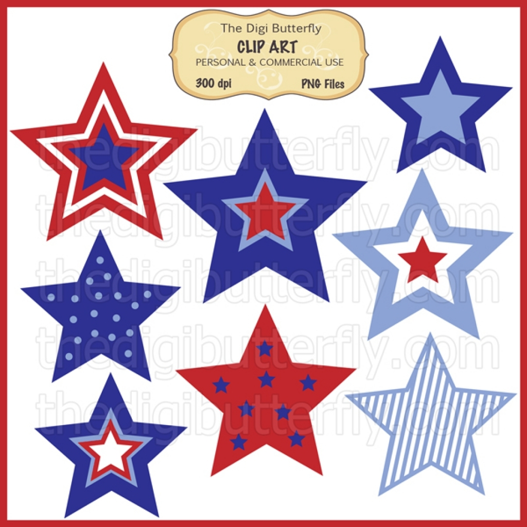 1024x1024 July 4th Stars Clip Art Set For Clipart