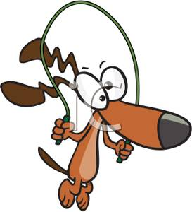 273x300 Dog With A Jump Rope Clip Art Image