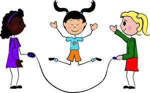 300x186 Kids Playing Cartoon Clipart Image