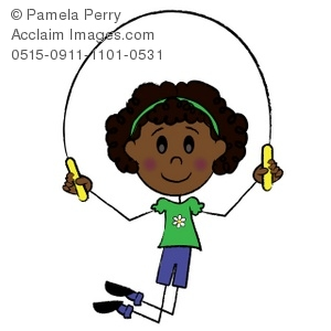 300x300 Art Illustration Of An African American Stick Girl Skipping Rope