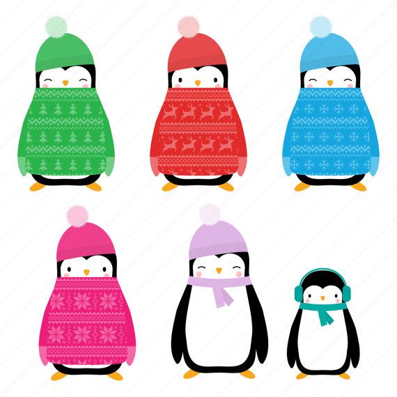 570x570 Christmas Jumper Penguin Clipart Christmas Penguin Digital