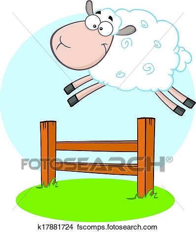 397x470 Clipart Of White Sheep Jumping Over The Fence K17881724