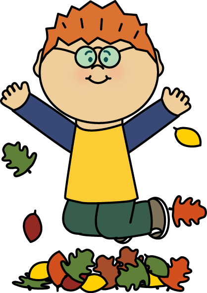 418x590 Boy Jumping In Leaves Clip Art
