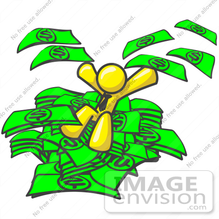 450x450 Clip Art Graphic A Yellow Guy Character Jumping Into A Pile