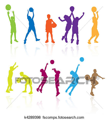 427x470 Clip Art Of Silhouettes Of Children Jumping K4289398