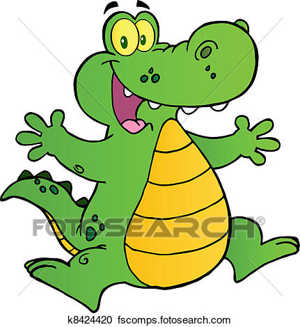 431x470 Clipart Of Happy Alligator Jumping K8424420