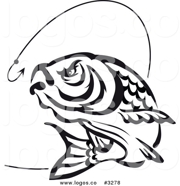600x620 Royalty Free Vector Of A Jumping Black And White Fish And Hook