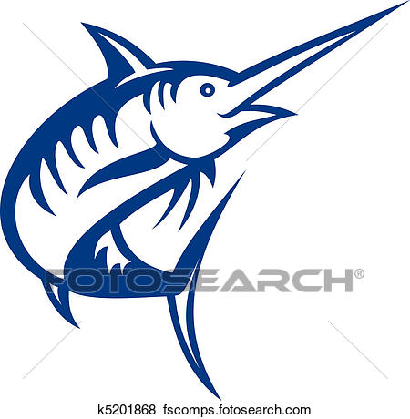 450x460 Stock Illustration Of Illustration Of A Blue Marlin Fish Jumping