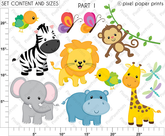 570x470 Jungle Friends Animal Clipart Clip Art And Digital Paper