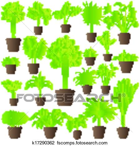 450x470 Clipart Of Exotic Jungle Bushes Grass, Reed, Palm Tree Wild Plants