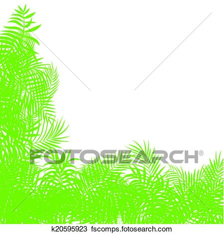 450x470 Clipart Of Exotic Forest Jungle Leaves, Grass And Herbs Vector
