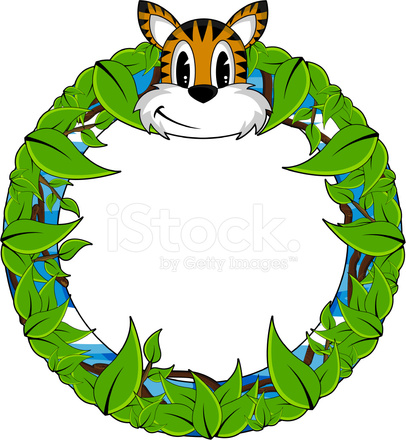 406x440 Cute Animal Jungle Border Stock Vector