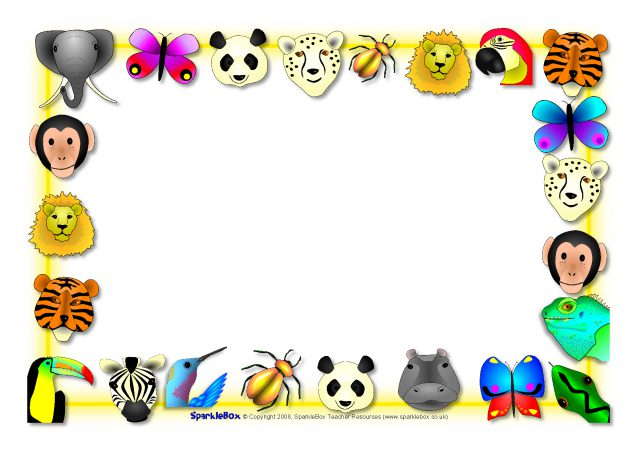 637x450 Jungle And Safari Animals Themed A4 Page Borders (Sb3890)