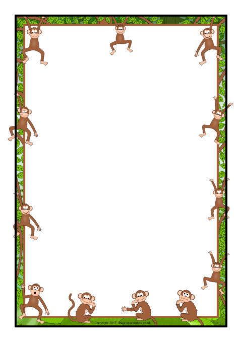 480x679 Monkey A4 Page Borders (Sb12326)