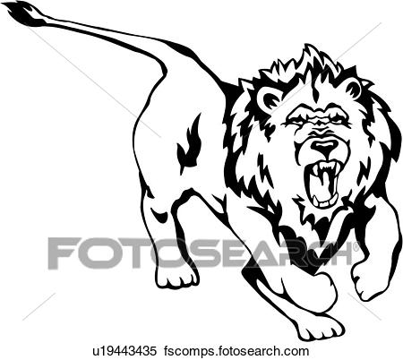 450x402 Clipart Of , Animal, King Jungle, Lion, Wild, U19443435