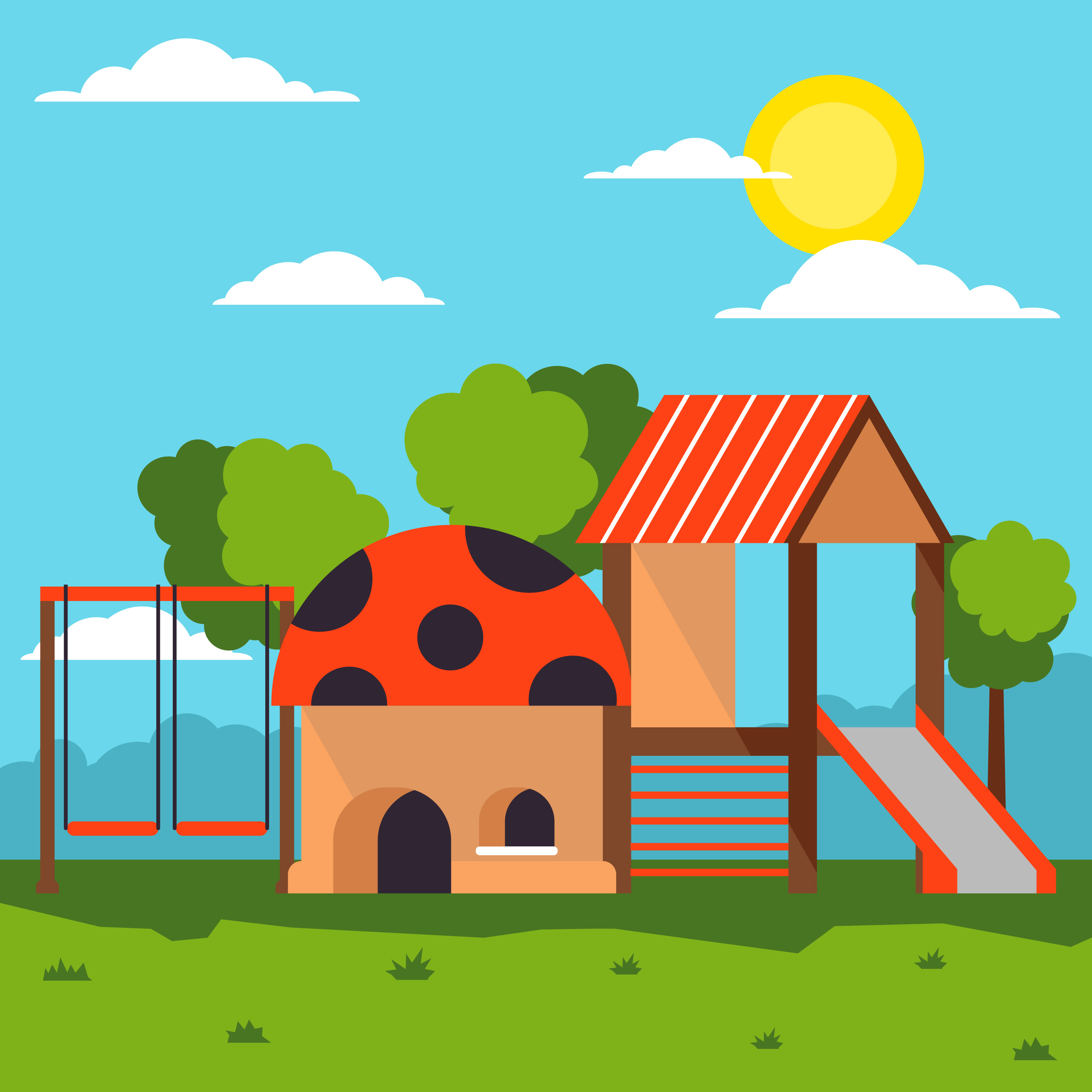 2800x2800 Playhouse In The Middle Of Playground Illustrator