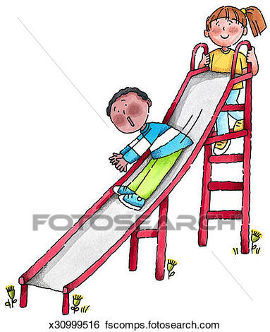 383x470 Stock Illustration Of Kids Playing On Slide X30999516