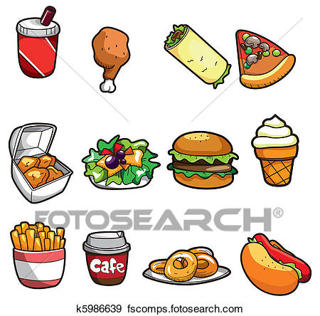 450x444 Clip Art Of Cartoon Fast Food Icon K5986639