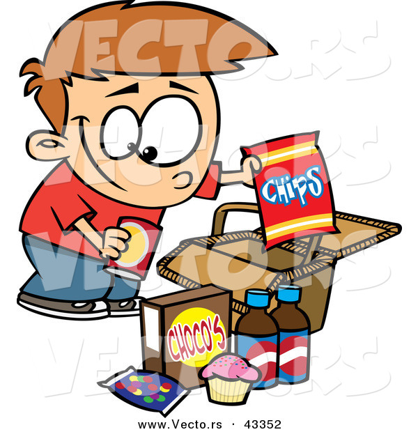 600x620 Vector Of A Smiling Cartoon Boy Packing Junk Food In A Picnic