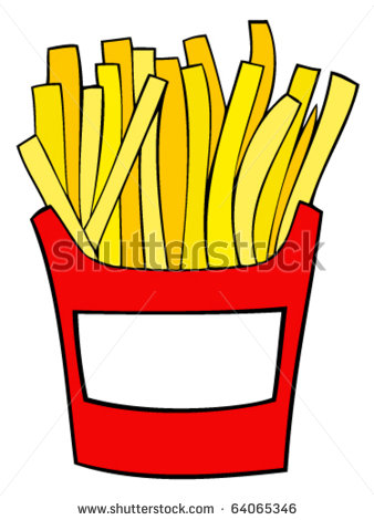 338x470 Of A Red Box Of French Fries In A Vector Clip Art Illustration