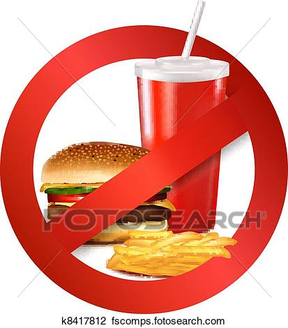 413x470 Clipart Of Fast Food Danger Label. K8417812
