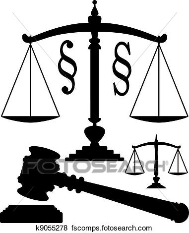 381x470 Clip Art Of Vector Scales Of Justice, Gavel And Paragraph Symbols
