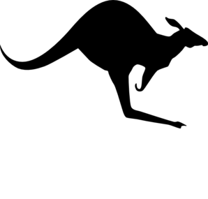 298x285 Solid Black Kangaroo Clip Art