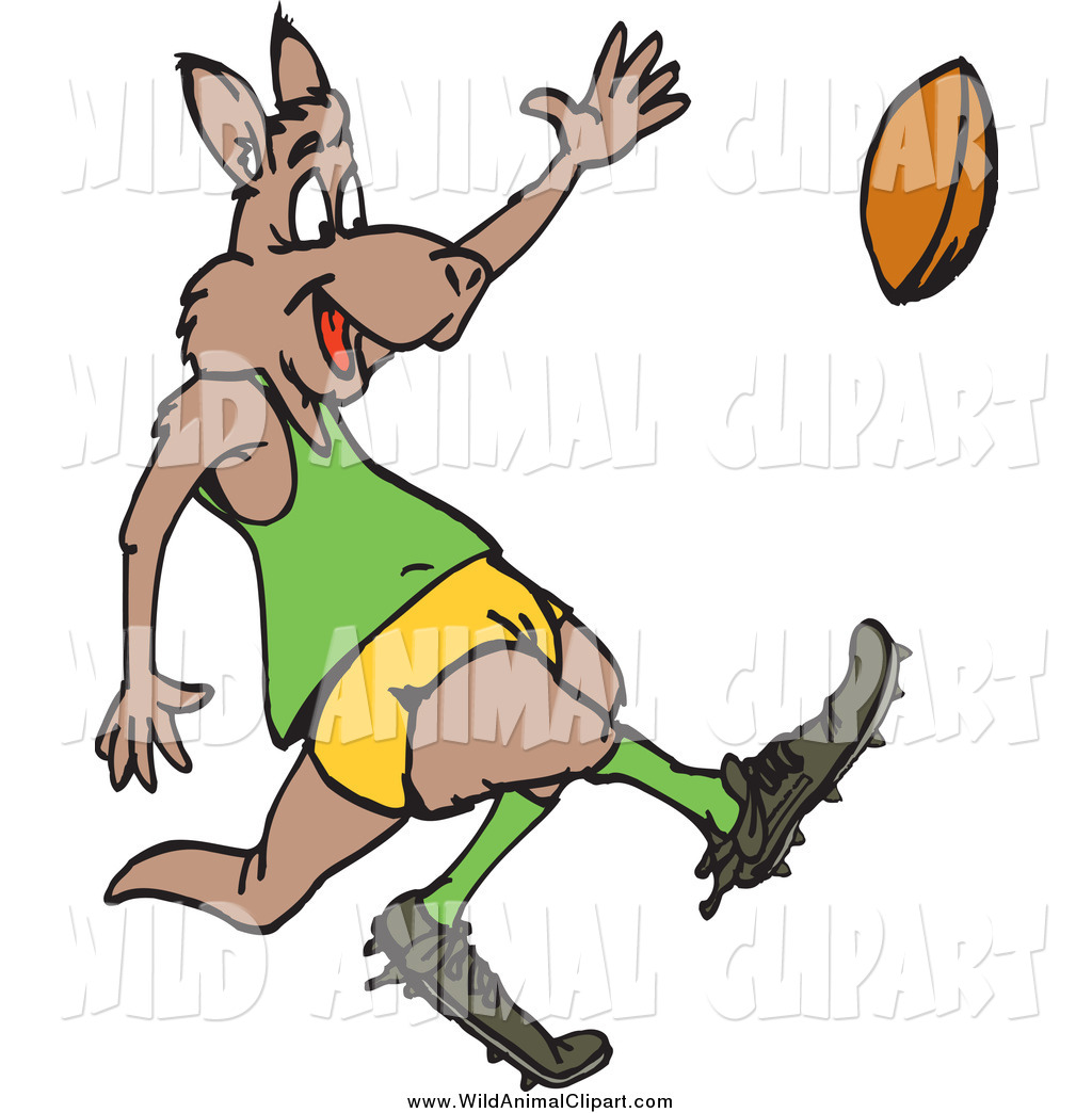1024x1044 Clip Art Of A Kangaroo Kicking A Rugby Football By Dennis Holmes