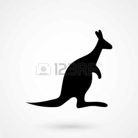 450x450 The Black Silhouette Of A Kangaroo On A White Background. Element