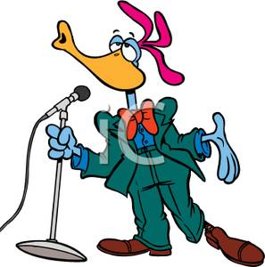 297x300 Rooster In A Suit And Tie Singing Karaoke