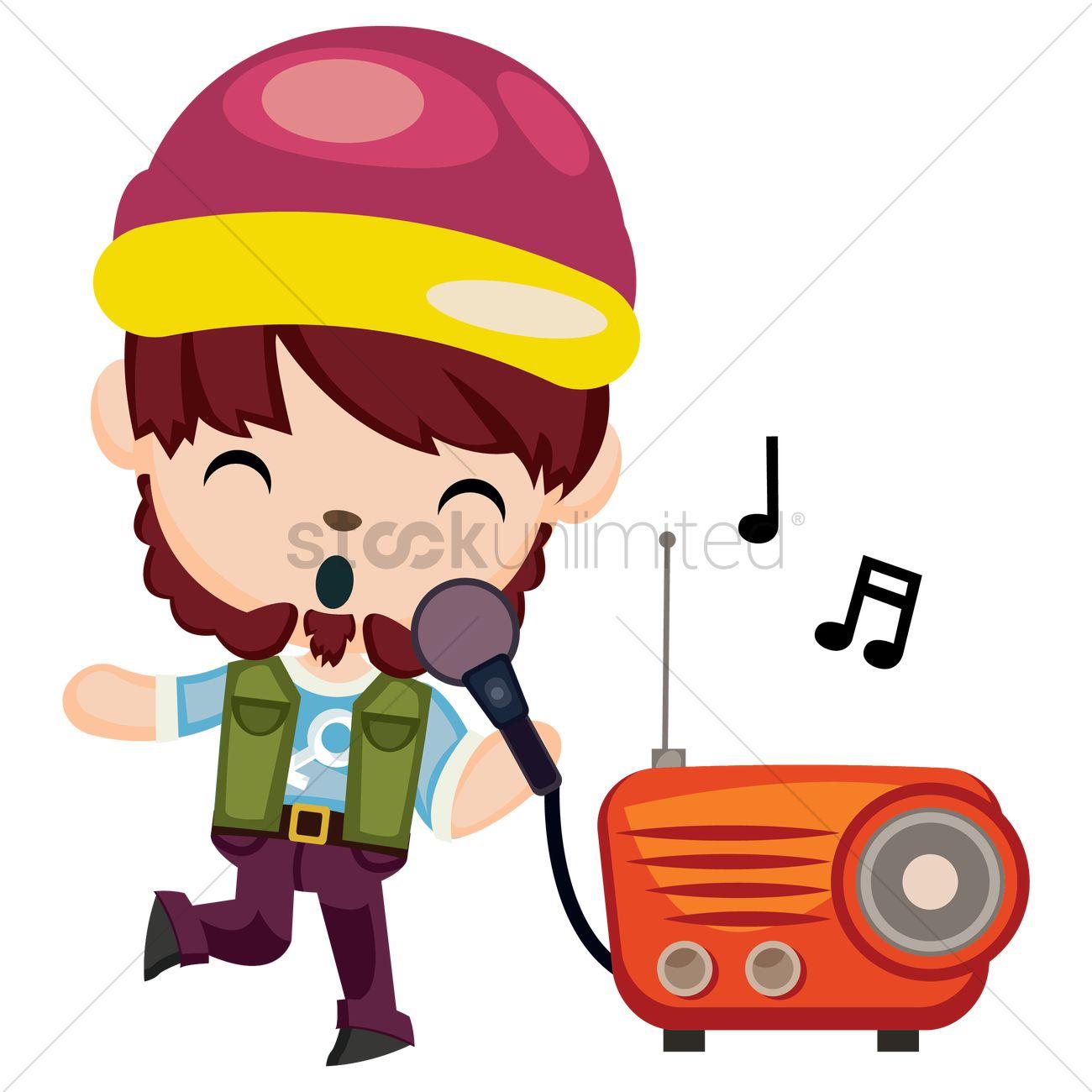 1300x1300 Free Hipster Boy Singing Karaoke Vector Image