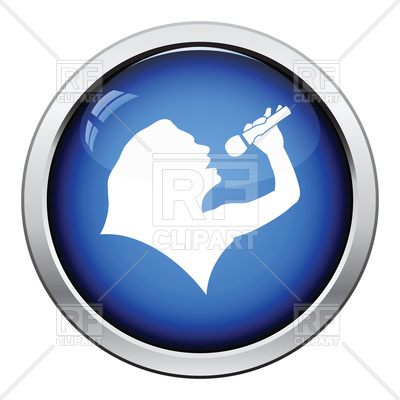 400x400 Glossy Button Design Of Karaoke Womans Silhouette Icon Royalty