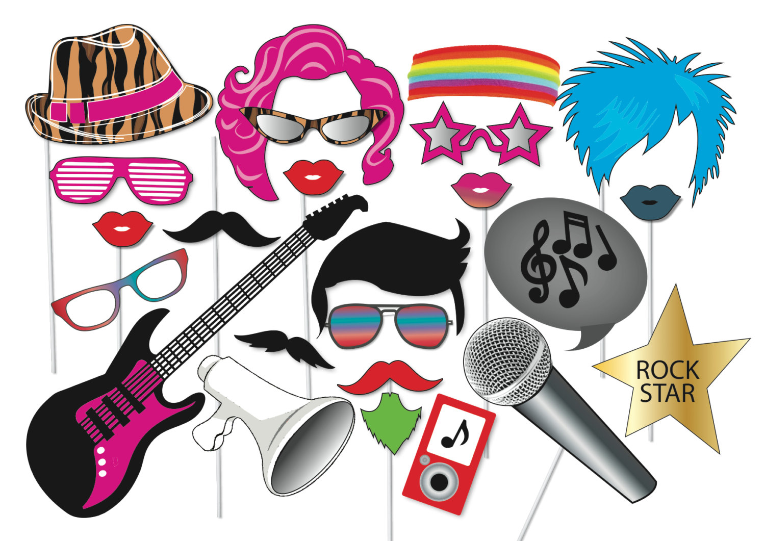 1500x1061 Popstar And Rockstar Party Photo Booth Props Set 24 Piece