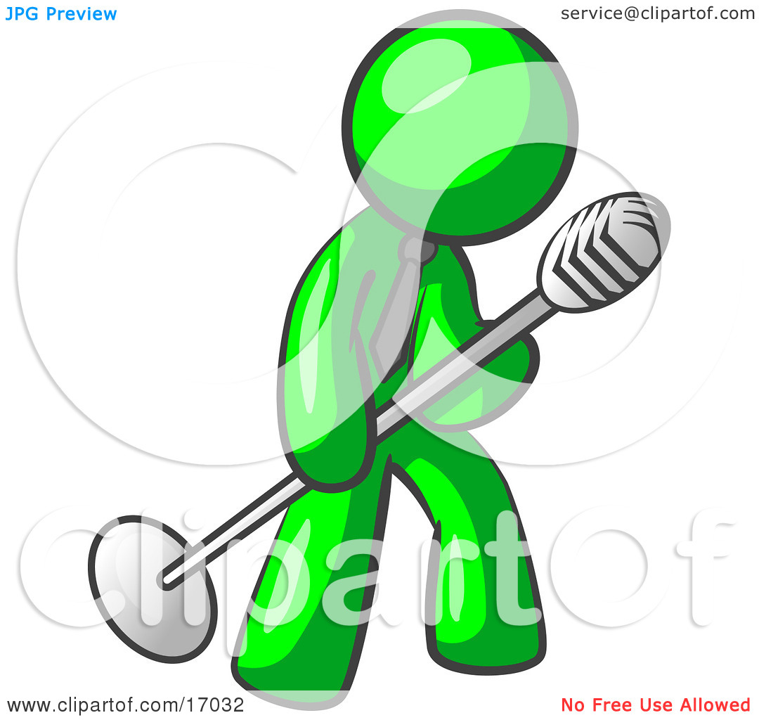 1080x1024 Karaoke Clipart Lime Green Man In A Tie Singing Songs On Stage