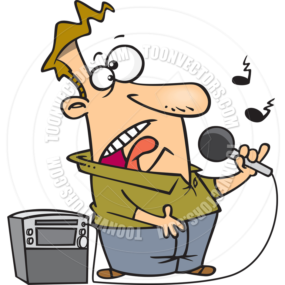 940x940 Cartoon Karaoke Singer By Ron Leishman Toon Vectors Eps