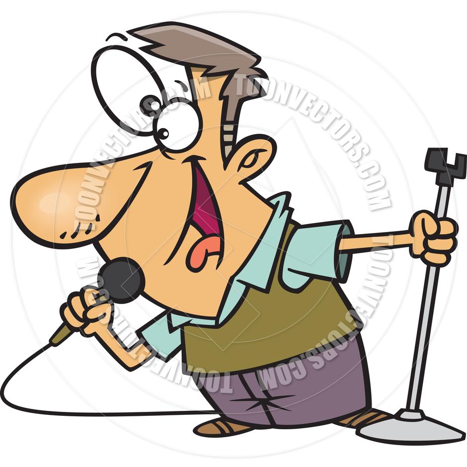 940x940 Cartoon Man Singing Karaoke By Ron Leishman Toon Vectors Eps