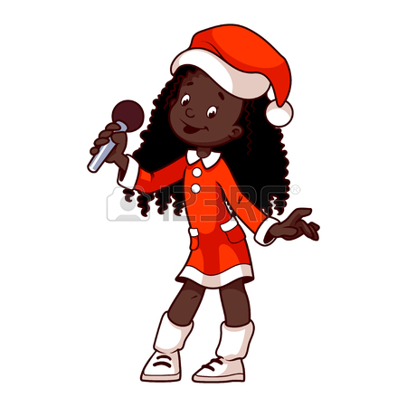 450x450 Girls In Christmas Dress Singing With Microphone. Clip Art