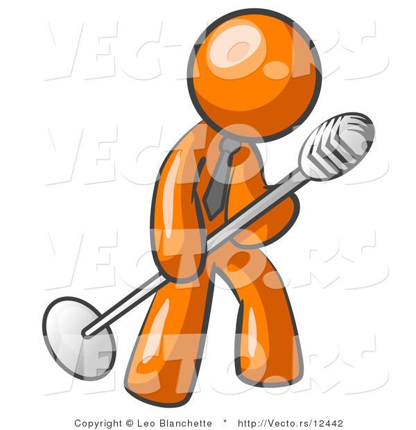 600x620 Vector Of Orange Guy In Tie, Singing Songs On Stage During