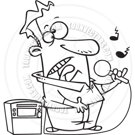 460x460 Cartoon Karaoke Singer (Black And White Line Art) By Ron Leishman