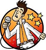 155x170 Clip Art Of Karaoke Star K19732029