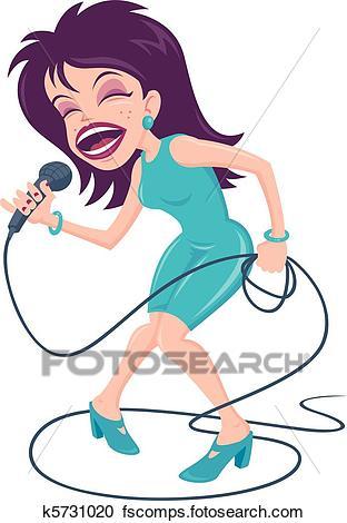 312x470 Clipart Of Female Pop Singer K5731020