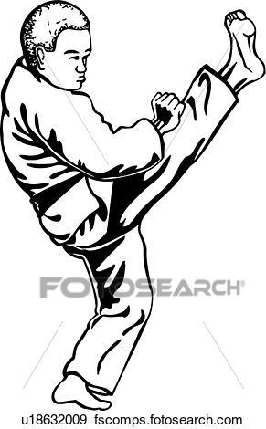 291x470 Clip Art Of Karate Kick U18632009