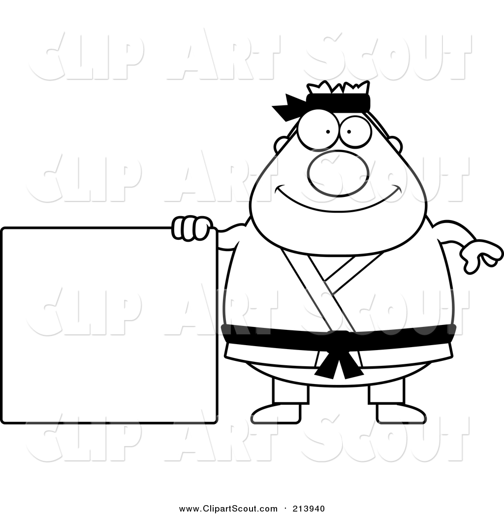 1024x1044 Clipart Of A Lineart Chubby Black Belt Karate Man With A Sign By