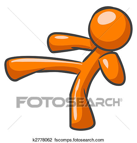 450x470 Clip Art Of Orange Man Karate Kick K2778062